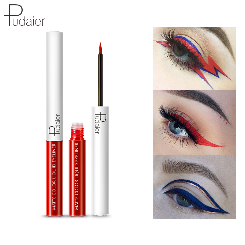 Pudier Colorful Smoky Liquid Eyeliner Waterproof Fashion Eyeliner Makeup Fast Dry Glitter Eyeliner Liquid Eyeliner 15 Colors in Eyeliner from Beauty Health