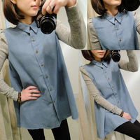 Autumn Shirt Shoulder Pads Long Sleeve Puff Sleeve Shirt Female Loose Plus Size Denim Shirt Outerwear