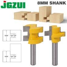 2 pcs 8 millimetri Shank Intagliare Piazza Coltello Dente T Slot Tenone Fresatura Frese di Taglio per Utensili di Legno la lavorazione del legno