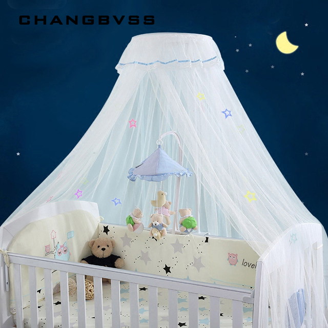 Palace Style Round Dome Crib Mosquito Net Luxury Baby Bed Mosquito Nets with Luminous Stars All-around Protect Baby Bed Canopy