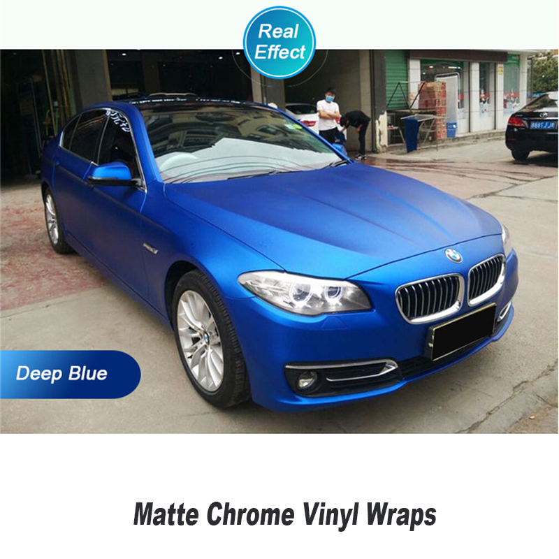 real Blue Matte Chrome Vinyl Wrap Car Wrapping Film For Vehicle styling With Air Rlease matt chrome Foil 1.52*20m 152cmx18m premium polymeric pvc light blue ice matte chrome vinyl film car styling wraps whole body stickers with air channel