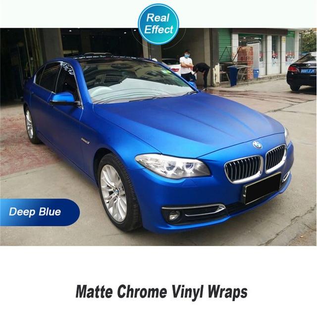 Matte Blue Car >> Real Blue Matte Chrome Vinyl Wrap Car Wrapping Film For Vehicle Styling With Air Rlease Matt Chrome Foil 1 52 20m