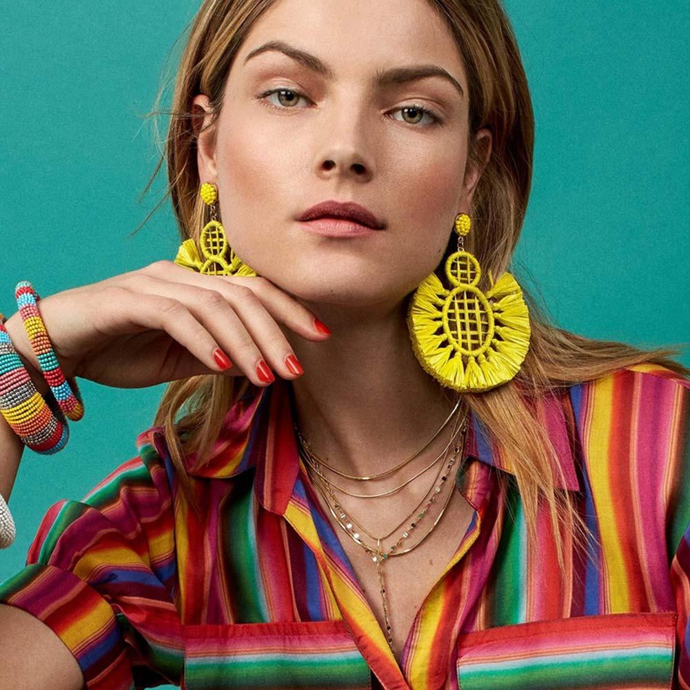 Flatfoosie Fashion 2018 Drop Earring Jewelry Elegant Raffia Tassel Earrings For Women Fringing Earrings POMPEII DROP EARRINGS