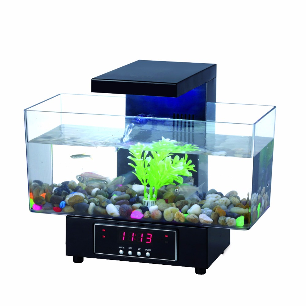 Usb mini aquarium fish tank with colorful light - Aliexpress Com Buy Mini Usb Fish Tank Aquarium Led Light Sound Recycled Water Small Electronic Ecological Aquarium Fish Tank Calendar Clock White22 From