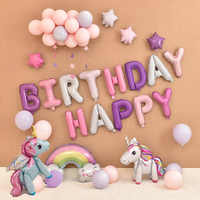 Unicorn Party Balloons Happy Birthday Party Air Ball Package Baby Shower 1st Birthday Decoration Girl Boy Letter Balloon