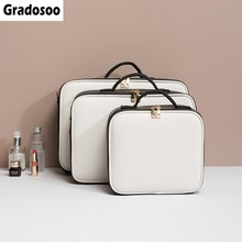 Gradosoo Panelled Makeup Bags and Cases Women Cosmetic Bag For Female Portable Big Professional Toiletry Sets LBF592