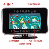 LCD Digital Functions Auto Replacement Parts Oil Pressure Gauge + Voltmeter Voltage Gauge + Water Temperature Gauge +Fuel Gauge