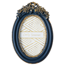 Creative American style rose temperament blue resin wall hanging photo frame  luxury photo frame continental american style gold resin luxury photo frame creative fashion like frame wall decoration
