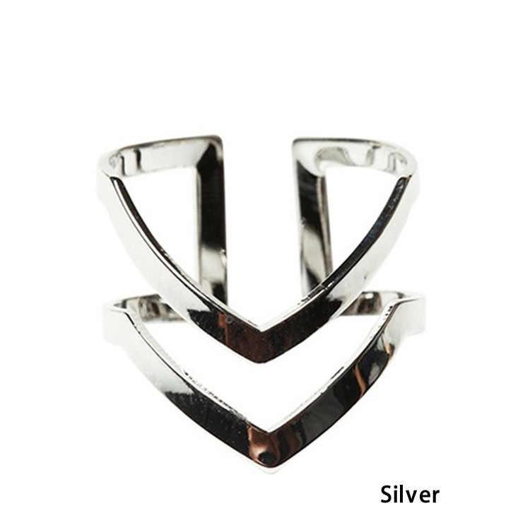 Летние Стильные Кольца с буквенным двойным v-образным кольцом женские полуоткрытый регулируемые винтажные кольца золотого и серебряного цвета