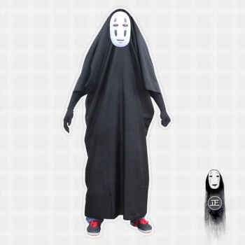 Anime Movie Spirited Away No Face Man Cosplay Costume Full Set Halloween Costume Robe + Gloves + Black/Purple Mask - DISCOUNT ITEM  0% OFF All Category