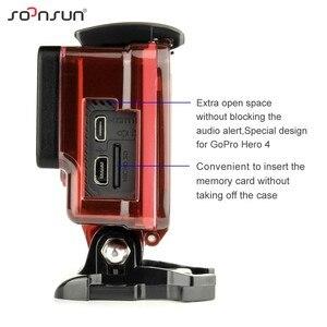 Image 4 - SOONSUN squelette boîtier Case côté ouvert housse de protection boîte avec trou creux porte arrière pour GoPro Hero 4 3 + pour Go Pro accessoire