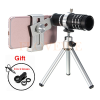 Phone Camera Lentes Kit HD 12x Telephoto Zoom Lens Telescope Fish Eye Wide Angle Macro Lenses