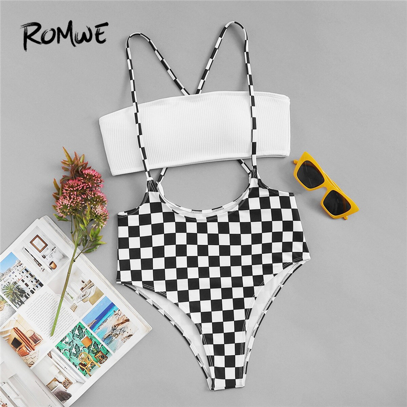 Romwe Sport Black And White Bandeau Top With Criss Cross Checkered Suspender Two Piece Suits Women Summer Sexy Swimwear