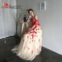 LIYATT Own Design New Real Picture Red Appliques Lace Feather Champagne Tulle Court Train Arabic Dubai Formal Evening Prom Dress