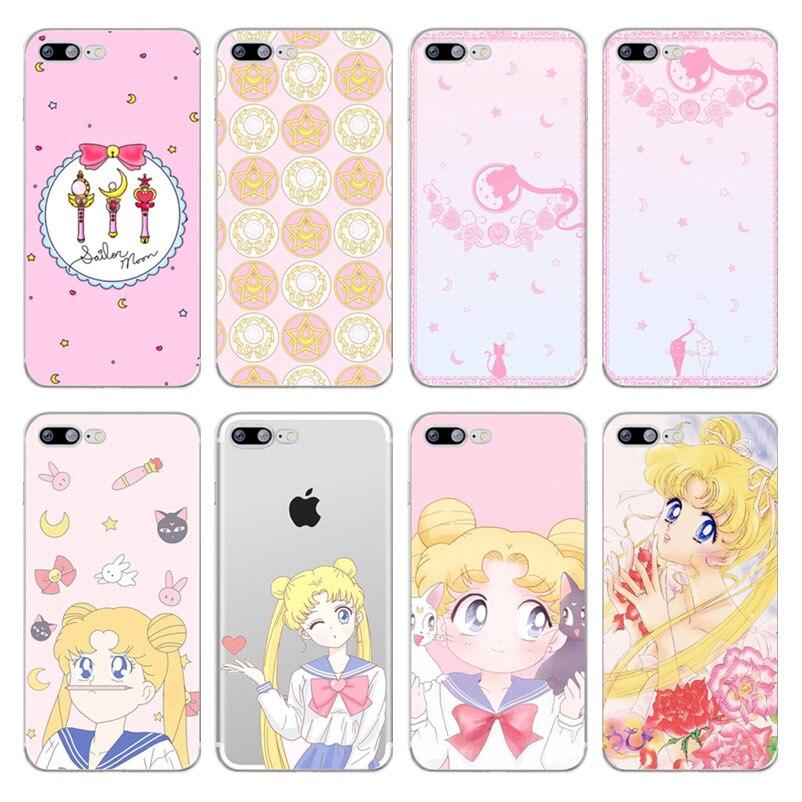 Cellphones & Telecommunications Half-wrapped Case Original Cute Cartoon Comics Sailor Moon Luna Cat Telefone Case For Iphone 7 7s 4 5 6 6s 8 Plus Xs Xr Max Se Phone Cover Silicone Coque