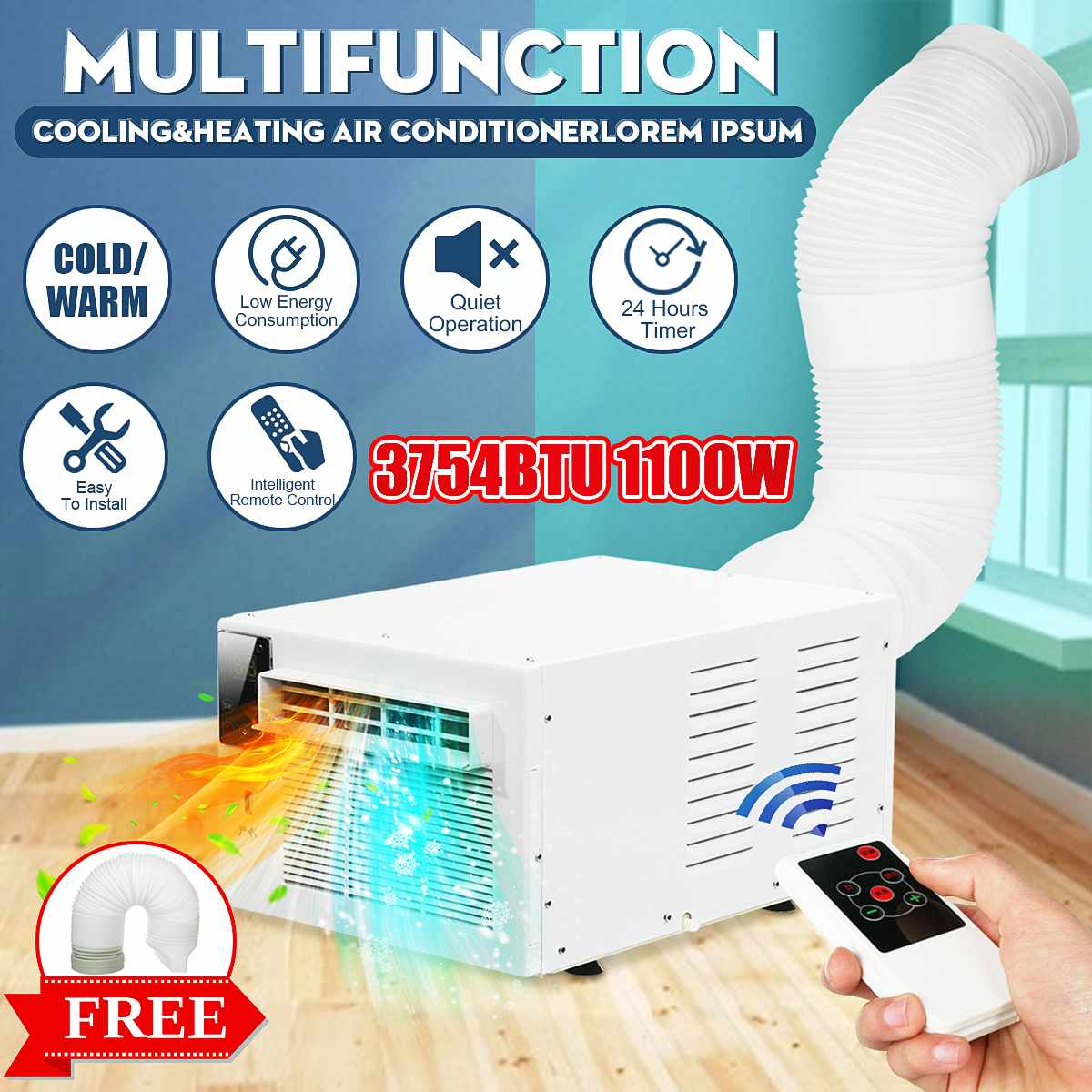 220V/AC Desktop Air Conditioner 1100W Cold/Heat Dual Use 24-hour Timer With Remote Control LED Control Panel+1X Exhaust Hose