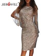 SEBOWEL srebrny drążą z długim rękawem cekinowa sukienka na przyjęcie kobiety Sexy metaliczny brokat Bodycon klub sukienki Midi cekinami suknie