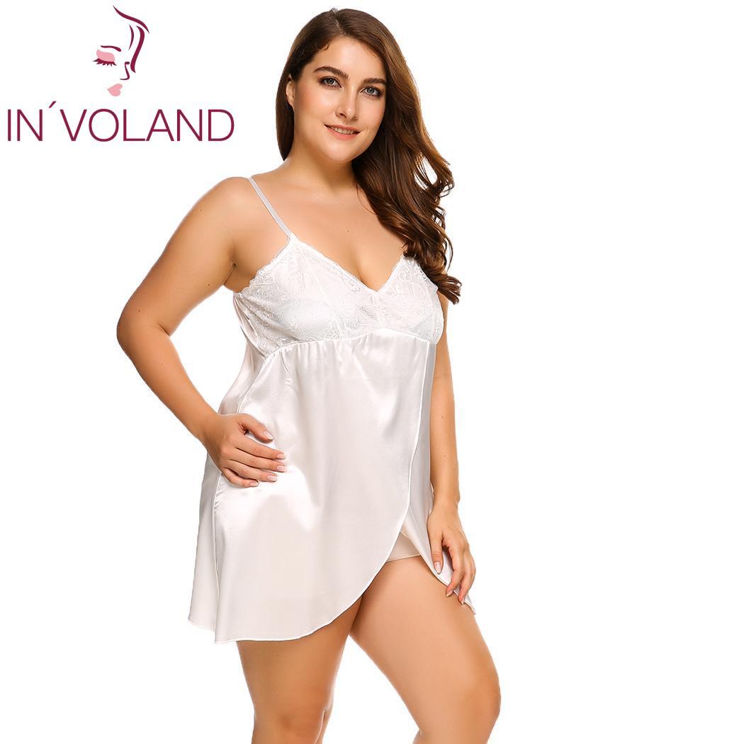 INVOLAND Plus Size Sleepwear Split Lace Satin Chemises Nightgown Solid Spaghetti Strap Home Dress Patchwork Nightwear L-4XL 2