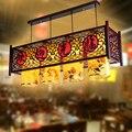 Китайский Ретро бар отеля подвесной светильник hotpot ресторанное освещение касса отеля антикварная деревянная овчина подвесной светильник ...