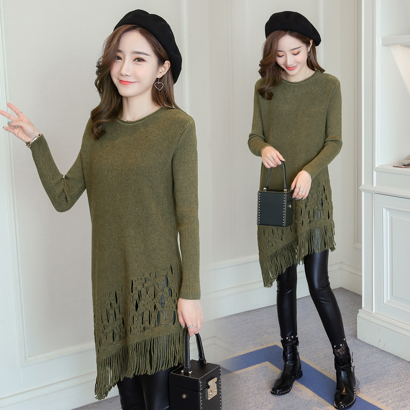 53d920ad078 Aliexpress.com   Buy Pengpious Korean style long design pregnant women  sweater irregular tassel hem maternity knitted dress fashion pregnancy  tunic from ...