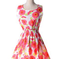Women Sunflower Printing Summer Multicolor Printed Elastic Waist Sweet Sleeveless Dress Bohemian Beach Style Short Dress LQ46