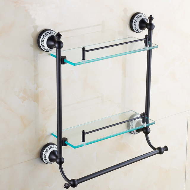 copper glass bathroom rack shelf towel bar oil rubbed bronze dresser black bar h59 towel