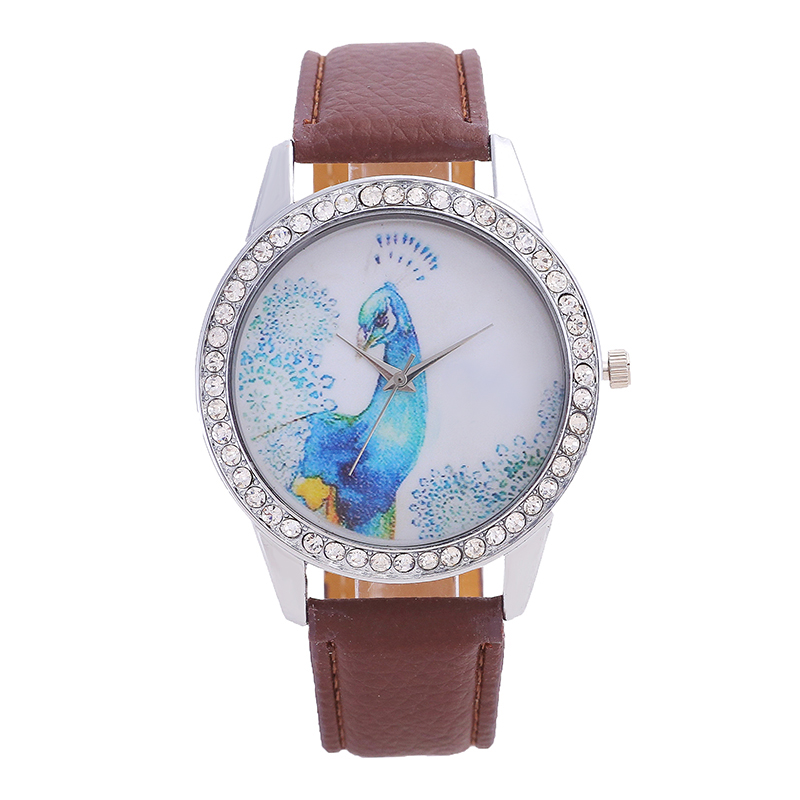 Women's Watches Brand Quartz Watch Simple Style Inlaid Diamonds Blue Peacock Icon Digital Dial Pointer Mirror Leather Watch