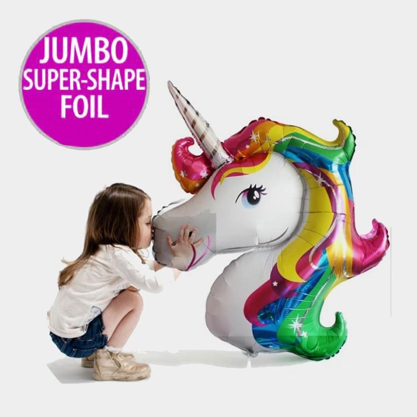 87 x 117cm Giant Unicorn Balloon Colorful Rainbow Fantasy Kuda Parti - Barang-barang untuk cuti dan pihak - Foto 2