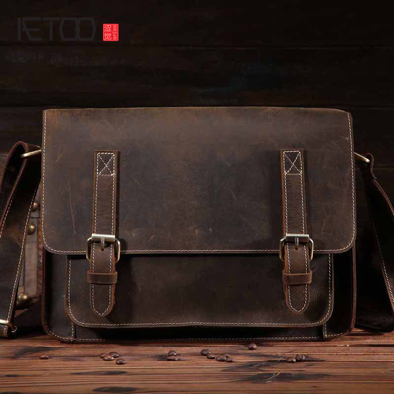 AETOO Men's mad horse leather leather men's bags Europe and the United States trend of retro handbags men's casual business shou aetoo europe and the united states casual leather handbags soft leather cowhide pure mori department of hong kong retro wide sho