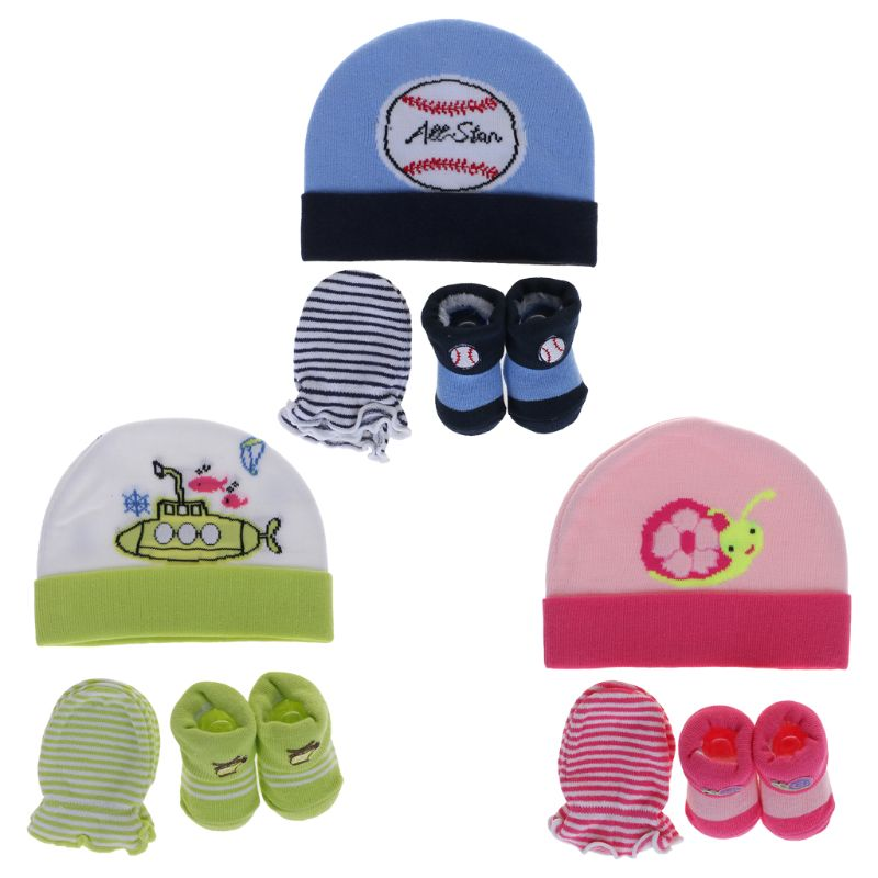 Latest Collection Of 1 Set Baby Hat Gloves Socks Knitted Soft Warm Winter Newborn Beanie Infant Costume Autumn Elastic Breathable Boys Girls Cartoon