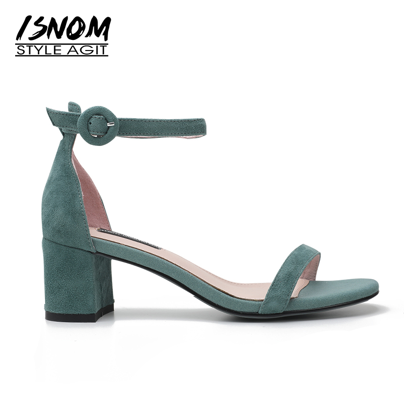 ISNOM 2018 Ankle Strap High Heels Sandals Women Open Toe Footwear Kid Suede Sandals Shoes New Summer Fashion Office Female Shoes isnom summer high heels sandals women kid suede square heels buckle open toe back strap footwear office 2018 brand ladies shoes