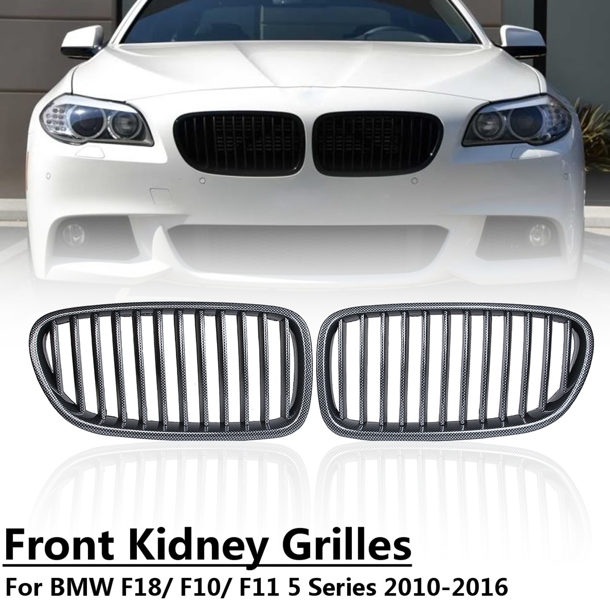 for BMW F18 F10 F11 5 Series 2011 2012 2013 2014 1 Pair Kidney Replacement Grille Carbon Fiber Black Front Kidney Grill Grilles 3pcs set m color front grill bumper cover trim decoration strip sticker for bmw 5 series f10 f11 2011 2013 f10 f18 2014 2015