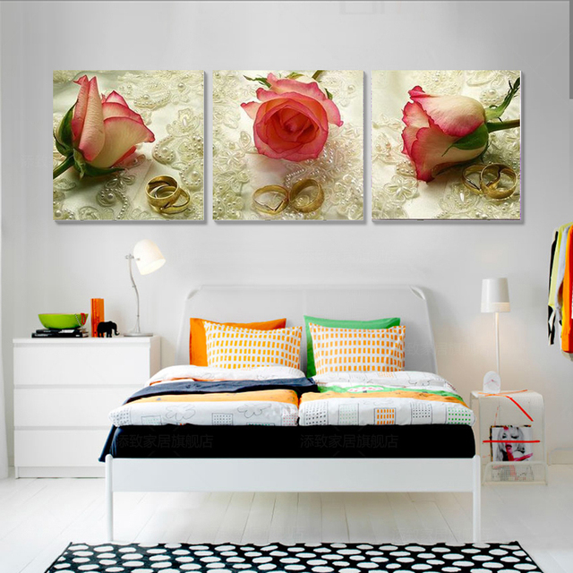 3 Piece Canvas Art Home Decor Rose Flower Wall Painting Pictures For Living