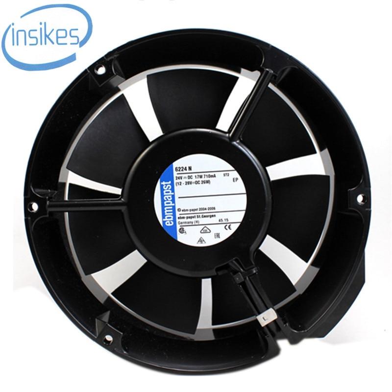 DHL Free 6224 N/17 DC 24V 17W 0.75A 17251 172*151*51mm Fan Function Treasure Printer Cooling Fan delta new efb1548vhg 17251 17cm 48v 0 83a circular drive cooling fan for 172 172 51mm