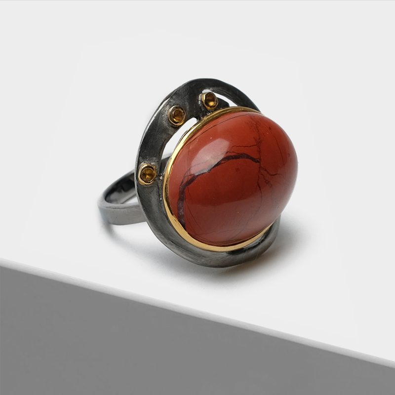Vintage 925 Silver plated with 22k gold Exaggerated oval pierced design inlaid semi-precious stone red Jasper citrine RingsVintage 925 Silver plated with 22k gold Exaggerated oval pierced design inlaid semi-precious stone red Jasper citrine Rings