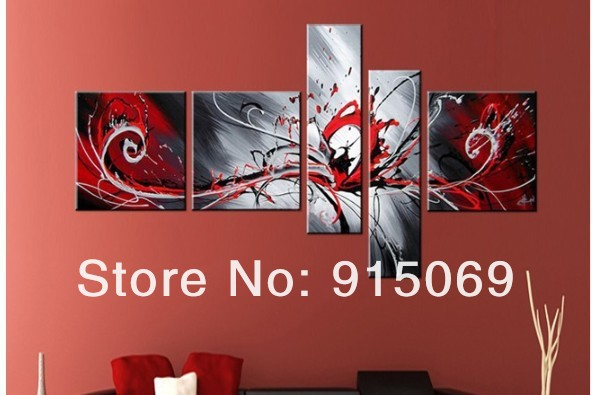 wholesale black red white abstract wall art canvas oil painting 100 ...
