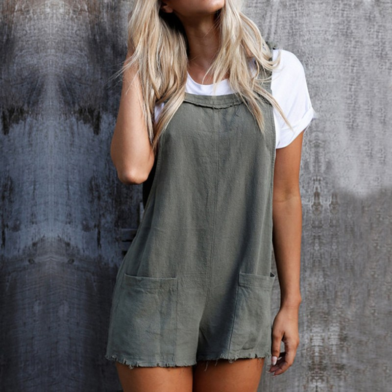 Bodysuits 2018 Summer Style Rompers Womens Jumpsuit Sexy Ladies Backless Sleeveless Playsuits Elegant Casual Pockets Overalls