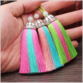 75mm 10pcs Mix Color Silk Tassel Charm Necklace Earring Tassels DIY For Jewelry Finding Accessories