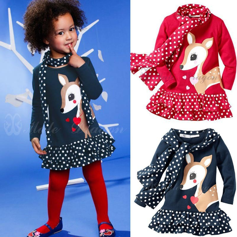 New 2016 12M-3Y Baby Girls Dress Cute Deer Long Sleeve Cotton Polka Dots Top Children For Girl Clothes toddlers girls dots deer pleated cotton dress long sleeve dresses