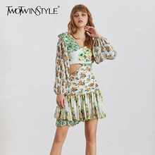 TWOTWINSTYLE Print Off Shoulder Women Dress Lantern Sleeve High Waist Hollow Out Mini Dresses Female Summer Fashion Clothes - DISCOUNT ITEM  44% OFF All Category