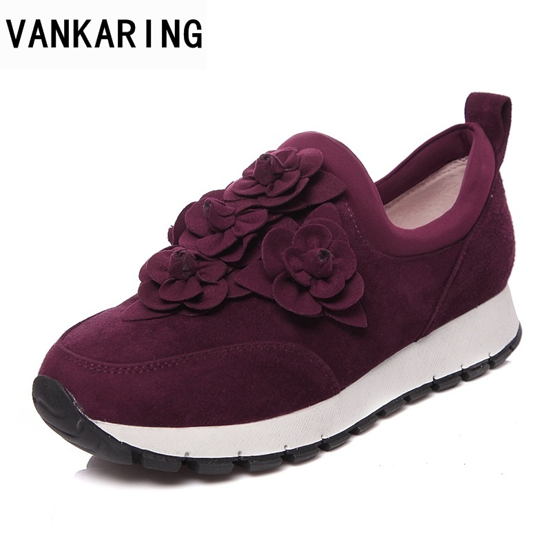 VANKARING new fashion women flats shoes genuine leather round toe sweet flowers shoes woman spring summer autumn casual shoes beffery 2018 spring patent leather shoes women flats round toe casual shoes vintage british style flats platform shoes for women