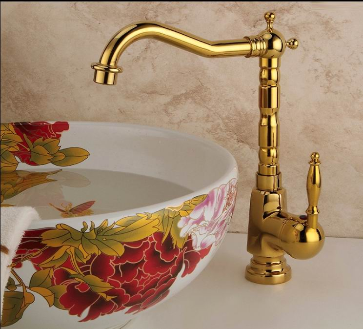 Contemporary Bathroom Basin Gold Faucet Brass Sink Tap New Luxury Single Handle Hot And Cold Tap Free Shipping free ship single hole bathroom faucet black color brass basin sink faucet cold hot tap single handle taps new