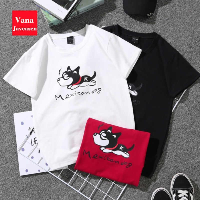 Vana Javeasen Plu Size Couple T-Shirt Cartoon Print Top Short Sleeve Summer Woman's Clothing O-Neck Female Tee Shirt Funny Tees