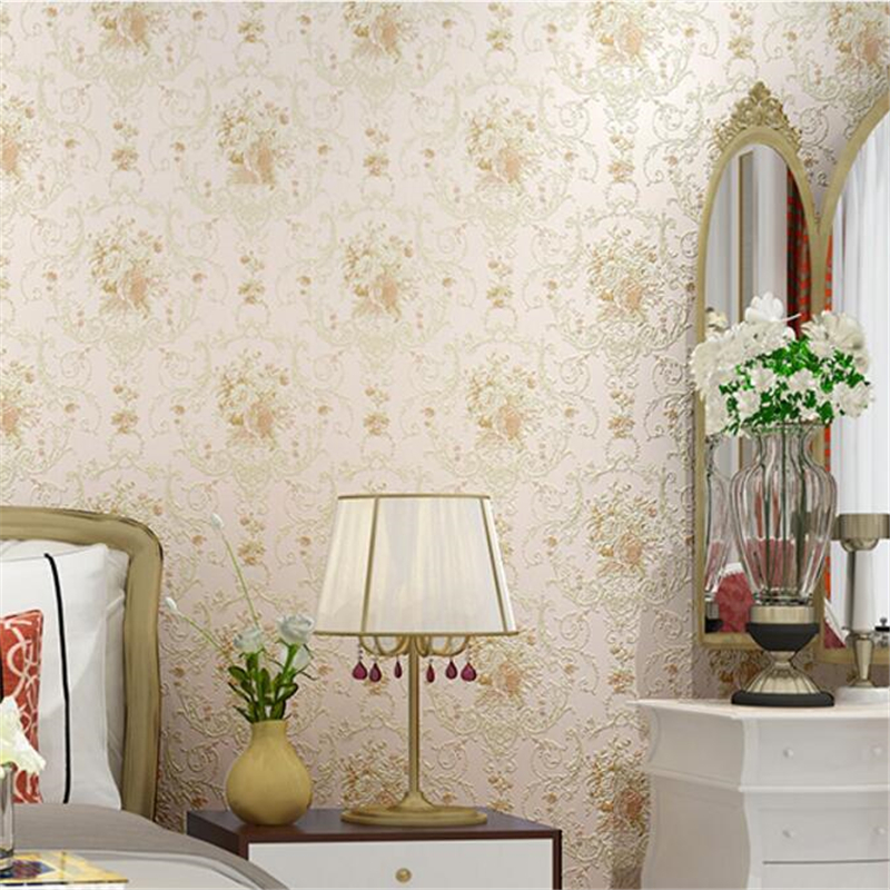 beibehang European-style non-woven wallpaper warm room bedroom wedding room large flower living room background gilt luxury gil