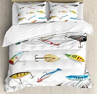 Fishing Duvet Cover Set Several Fish Hook Equipment Objects Trolling Angling Netting Gathering Activity 4 Piece Bedding Set