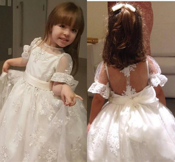 Soft Lace Flower Girl Dress with Belt Bow Sheer Back Half Sleeves Holy First Communion Gowns Custom Made Princess Dress Vestidos