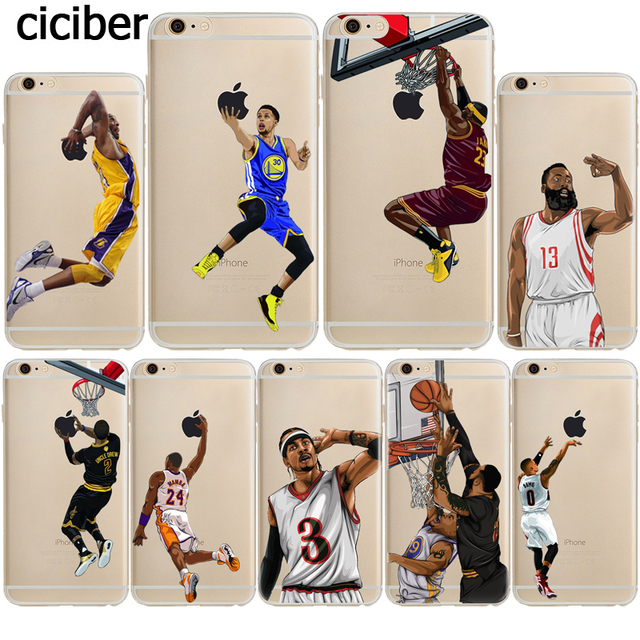 Jordan James Kobe Curry Basketball Silicone Case for Apple iphone 7 6S 6 8 PLUS X 5S 5 SE 10 Transparent Soft Clear Cover Fundas