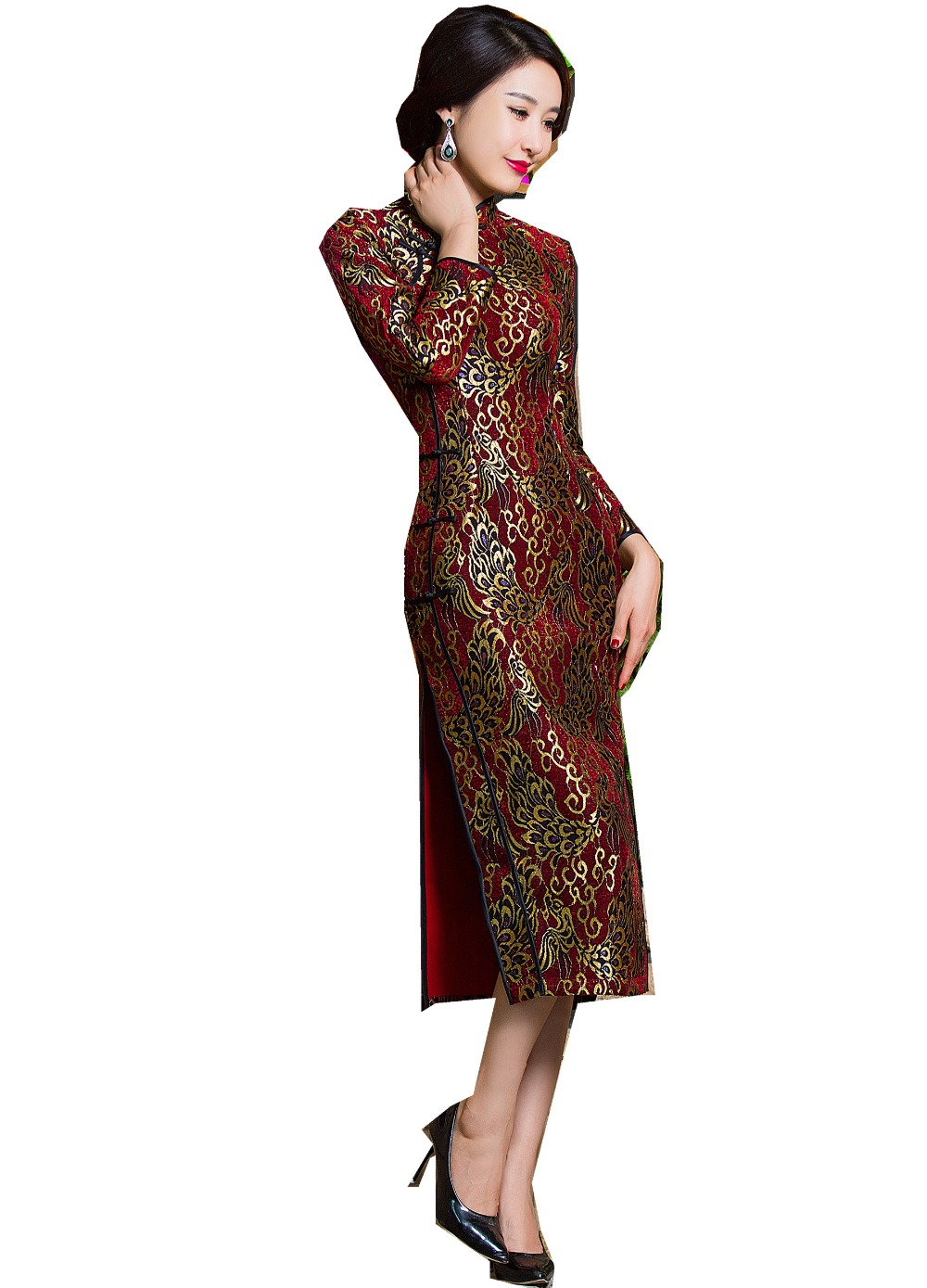 Shanghai Story Autumn Velvet Qipao Chinese traditional Dress ...