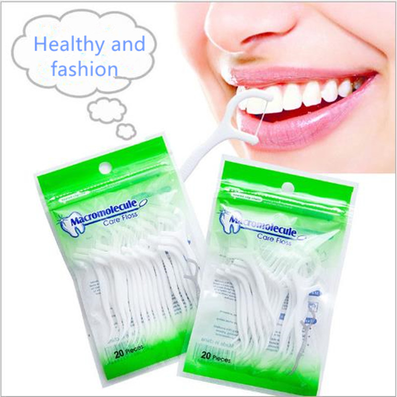 100pcs/Lot Plastic Dental Floss Flosser Picks Teeth Toothpicks Stick Tooth Clean Oral Care 7.5cm Healthy Free Shipping