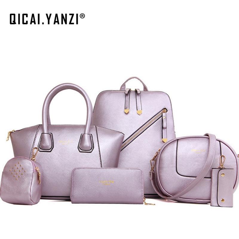 2017 1Set /6PCS New Women Retro Vintage Handbag Shoulder Bag Tote Satchel Purse Messenger Quality Free Shipping P118